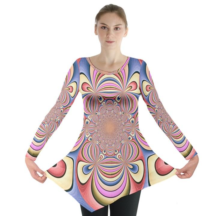 Pastel Shades Ornamental Flower Long Sleeve Tunic