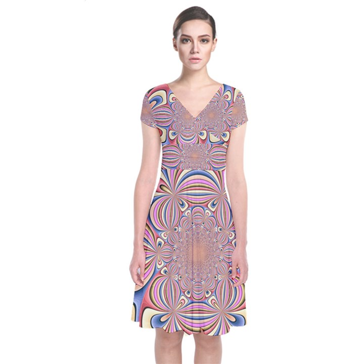 Pastel Shades Ornamental Flower Short Sleeve Front Wrap Dress