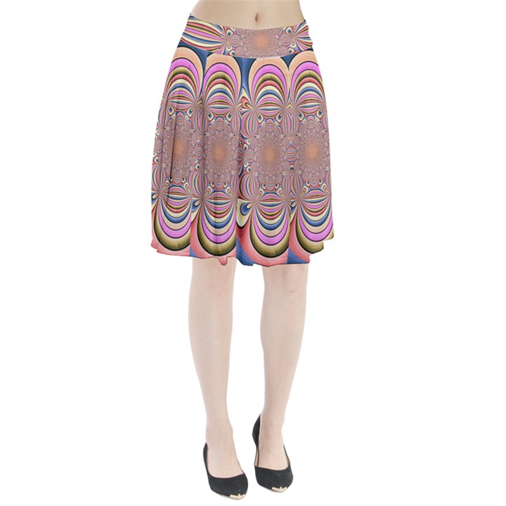 Pastel Shades Ornamental Flower Pleated Skirt