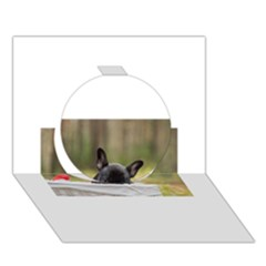 French Bulldog Peeking Puppy Circle 3D Greeting Card (7x5) by TailWags