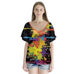 Crazy Multicolored Double Running Splashes V Neck Flutter Sleeve Top by EDDArt