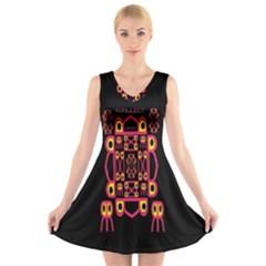 Alphabet Shirt V Neck Sleeveless Skater Dress