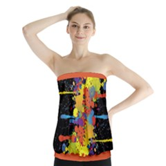 Crazy Multicolored Double Running Splashes Strapless Top by EDDArt