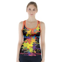 Crazy Multicolored Double Running Splashes Racer Back Sports Top by EDDArt