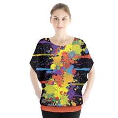Crazy Multicolored Double Running Splashes Batwing Chiffon Blouse by EDDArt