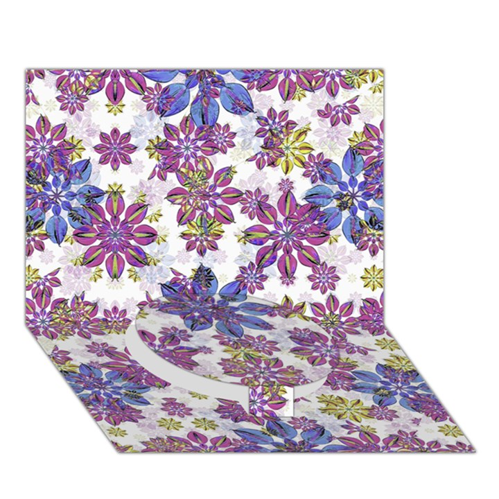 Stylized Floral Ornate Pattern Circle Bottom 3D Greeting Card (7x5)