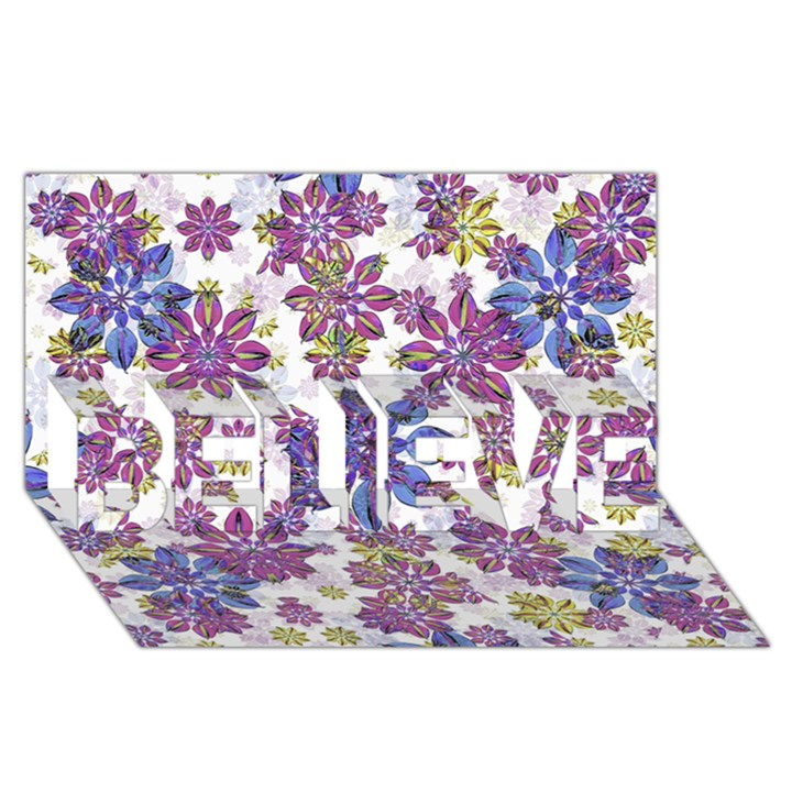 Stylized Floral Ornate Pattern BELIEVE 3D Greeting Card (8x4)