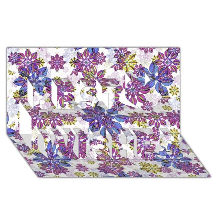 Stylized Floral Ornate Pattern Best Wish 3D Greeting Card (8x4)