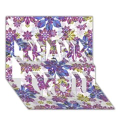 Stylized Floral Ornate Pattern Thank You 3d Greeting Card (7x5) by dflcprints