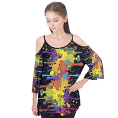 Crazy Multicolored Double Running Splashes Flutter Sleeve Tee  by EDDArt