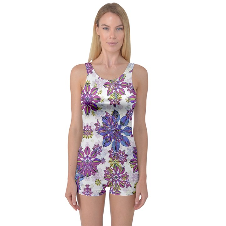 Stylized Floral Ornate One Piece Boyleg Swimsuit