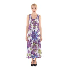 Stylized Floral Ornate Sleeveless Maxi Dress