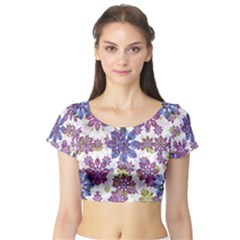 Stylized Floral Ornate Short Sleeve Crop Top (tight Fit)