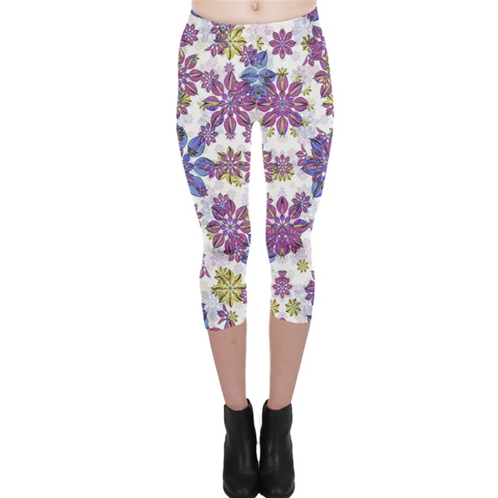 Stylized Floral Ornate Capri Leggings
