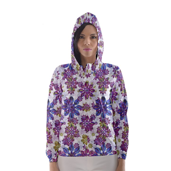 Stylized Floral Ornate Hooded Wind Breaker (Women)