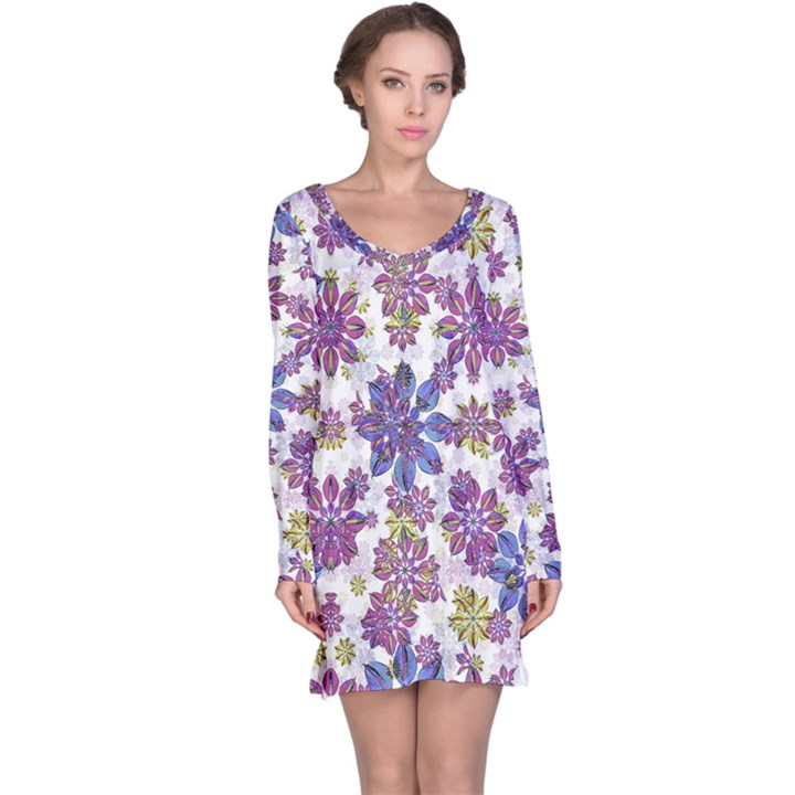Stylized Floral Ornate Long Sleeve Nightdress