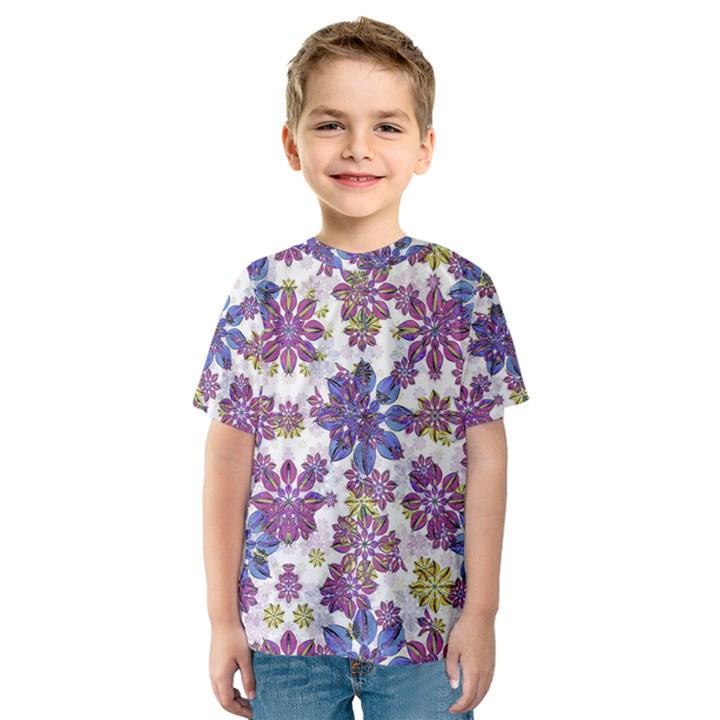 Stylized Floral Ornate Kids  Sport Mesh Tee