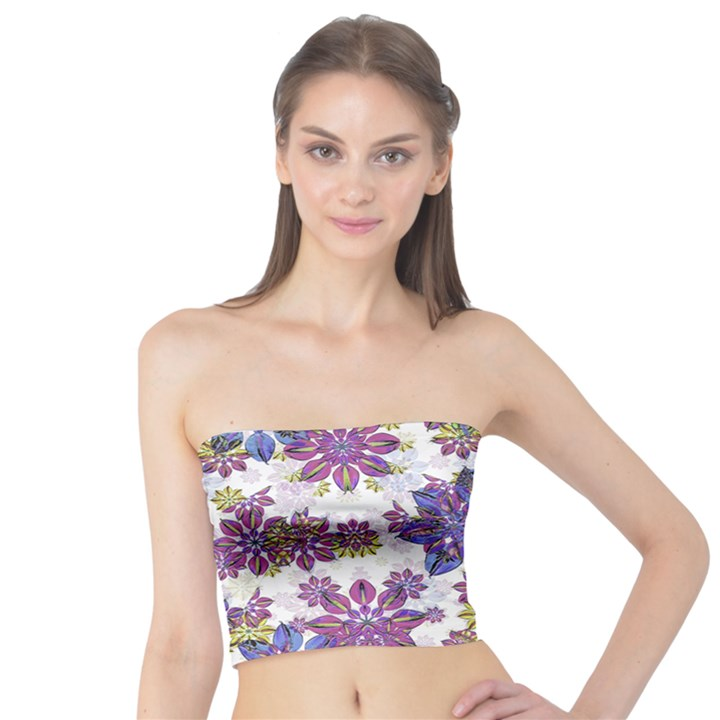 Stylized Floral Ornate Tube Top
