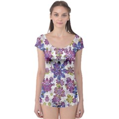 Stylized Floral Ornate Boyleg Leotard