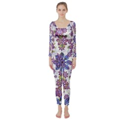 Stylized Floral Ornate Long Sleeve Catsuit by dflcprintsclothing
