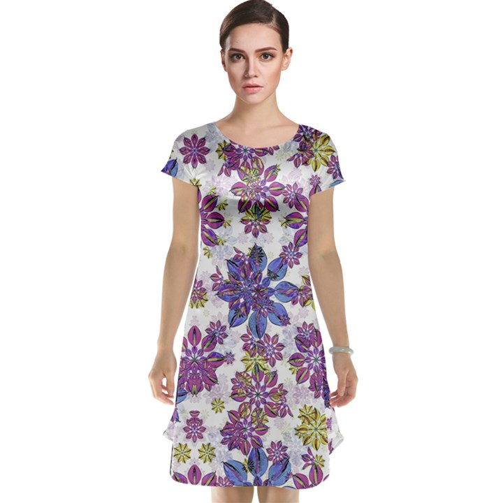 Stylized Floral Ornate Cap Sleeve Nightdress