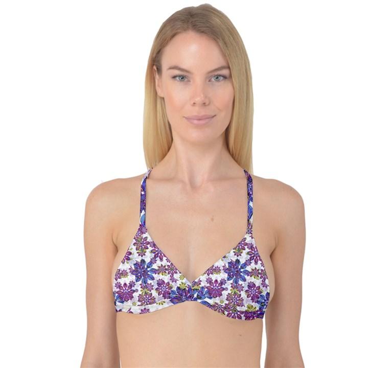 Stylized Floral Ornate Reversible Tri Bikini Top