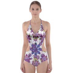 Stylized Floral Ornate Cut Out One Piece Swimsuit