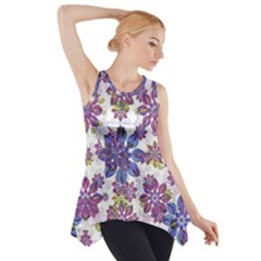 Stylized Floral Ornate Side Drop Tank Tunic