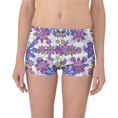 Stylized Floral Ornate Reversible Boyleg Bikini Bottoms