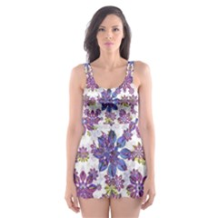 Stylized Floral Ornate Skater Dress Swimsuit