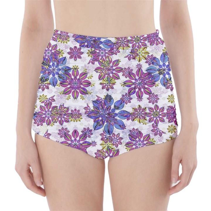 Stylized Floral Ornate High-Waisted Bikini Bottoms