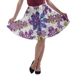 Stylized Floral Ornate A Line Skater Skirt