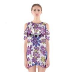 Stylized Floral Ornate Cutout Shoulder Dress