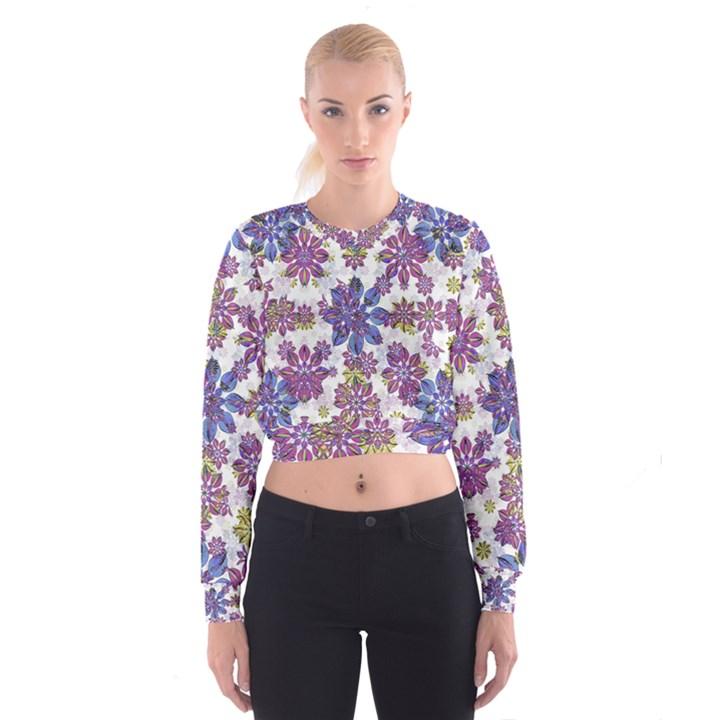 Stylized Floral Ornate Women s Cropped Sweatshirt