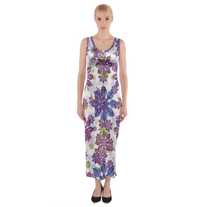 Stylized Floral Ornate Fitted Maxi Dress