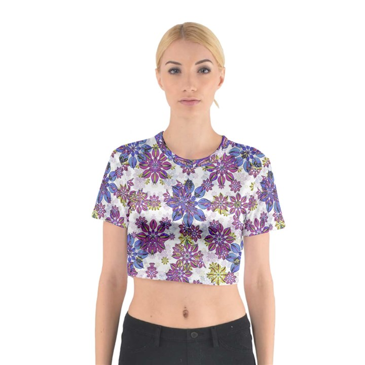 Stylized Floral Ornate Cotton Crop Top