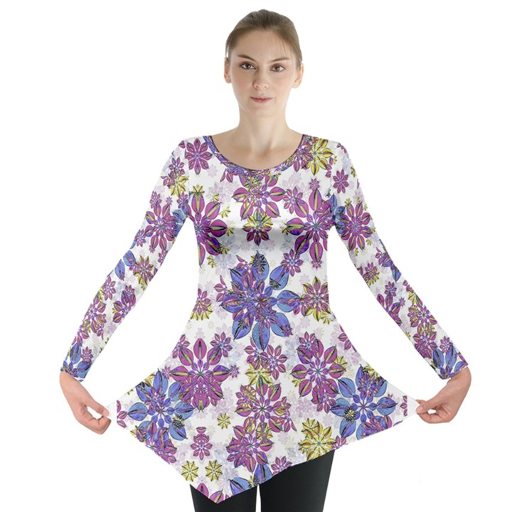 Stylized Floral Ornate Long Sleeve Tunic