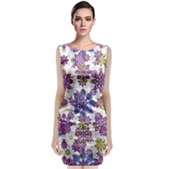 Stylized Floral Ornate Classic Sleeveless Midi Dress