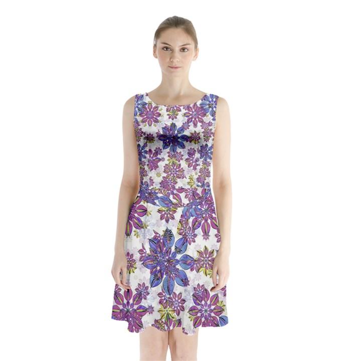 Stylized Floral Ornate Sleeveless Chiffon Waist Tie Dress