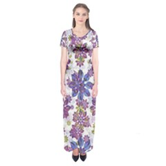 Stylized Floral Ornate Short Sleeve Maxi Dress