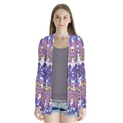 Stylized Floral Ornate Drape Collar Cardigan