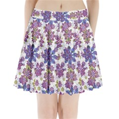 Stylized Floral Ornate Pleated Mini Skirt