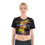 Crazy Multicolored Double Running Splashes Cotton Crop Top