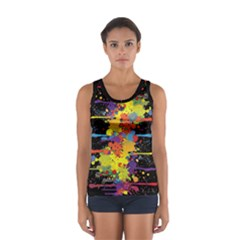 Crazy Multicolored Double Running Splashes Women s Sport Tank Top  by EDDArt