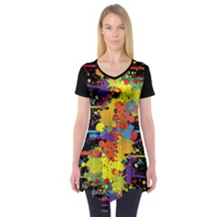 Crazy Multicolored Double Running Splashes Short Sleeve Tunic  by EDDArt