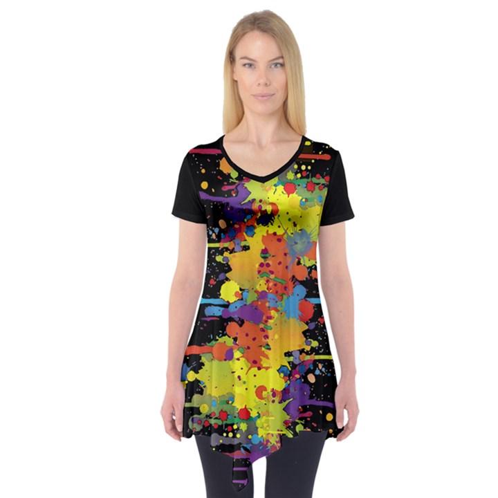 Crazy Multicolored Double Running Splashes Short Sleeve Tunic