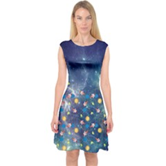 Galaxy Capsleeve Midi Dress by Wanni