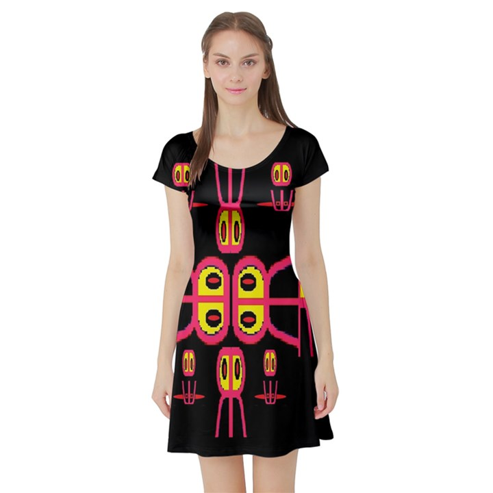 Alphabet Shirt R N R Short Sleeve Skater Dress