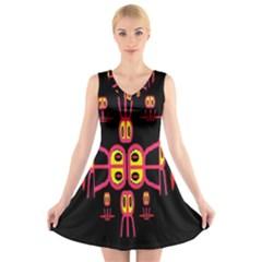 Alphabet Shirt R N R V Neck Sleeveless Skater Dress