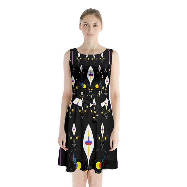Clothing (25)gee8dvdynk,k;; Sleeveless Chiffon Waist Tie Dress